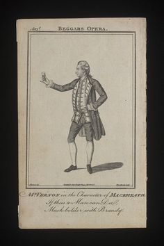 Beggars Opera/Mr. Vernon in the Character of Mackheath. | James Roberts | V&A  Engraved portrait showing Joseph Vernon (1737/8-1782), as Mackheath in the third Act of The Beggars Opera, by John Gay (1685–1732), 1777. Harry Beard Collection. James Roberts, born 1753 - died 1813 (artist)  Thornthwaite, born 1735 (engraver)  Bells British Theatre (publisher)