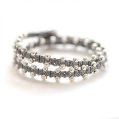 5490553a1334 beaded wrap bracelet in sterling silver by BijouxBar Brazaletes