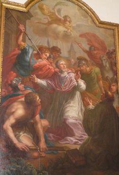 Lambertus van Maastricht + 2.Marteldood Lambertus. ca 1650, schilderij. Duitsland, Münster, St-Lamberti.