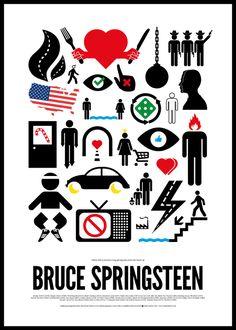 Grafik tasarım sanatçısı Victor Hertz'ten rock efsanelerine imgelerle yapmış olduğu poster serisinden 'Bruce Springsteen' çalışması.