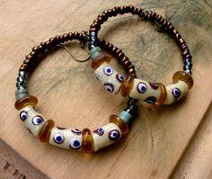 African Glass Beaded Big Hoop Earrings  Rustic  by stoneandbone, $27.95