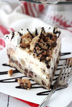 Chocolate Chip Cookie Ice Cream Cake - a layer of chocolate chip cookie with cook dough ice cream! Topped with chopped cookies, whipped cream and chocolate sauce!