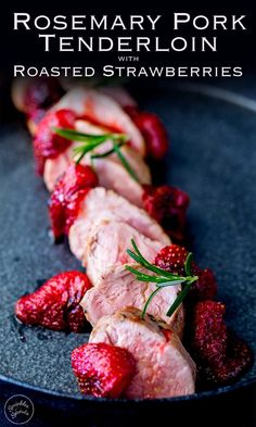 This sous vide rosemary pork is juicy, tender and packed with flavor. Pair it with the delicious roasted strawberries and this dish is elegant enough for company, but quick enough for a mid-week meal. Cooked Pork Recipes, Beef Recipes, Cooking Recipes, Fall Recipes, Cookbook Recipes, Christmas Recipes, Delicious Recipes, Rosemary Pork Tenderloin, Filet Mignon