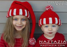 Free Pattern - Crochet Santa Hat Striped Beanie for Kids Children Babies with YouTube Tutorial Video by Naztazia