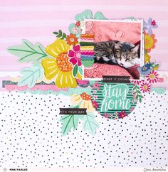 "Scrapping with fun patterns and gorgeous flowers from the Pink Paislee ""Oh My Heart"" collection. Christmas Scrapbook Layouts, 12x12 Scrapbook, Scrapbook Sketches, Scrapbook Page Layouts, Oh My Heart, Big Flowers, Mini Books, So Little Time, Mini Albums"