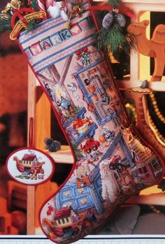 This is the stocking I made for Jerry when I could still see well enought to do micro tiny stitches!! HOLIDAY WORKSHOP Heirloom Christmas STOCKING - Counted Cross Stitch Pattern Chart