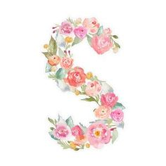Silhouette Design Store: floral monogram s Flower Letters, Monogram Letters, Letters And Numbers, Watercolor Flowers, Watercolor Art, Monogram Wallpaper, Art Store, Letter Art, Silhouette Design