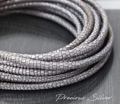 Alligator pattern lizard scale texture round rope for necklaces or bracelets Metallic Leather, Leather Cord, Stitching Leather, Leather Necklace, Round Beads, Rings For Men, Bracelets, Silver, Scale