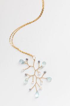Sparkling Sea Gemstone Branch Necklace Classic Wedding Inspiration, Bohemian Wedding Inspiration, Branch Necklace, Gemstone Necklace, Bridal Accessories, Wedding Jewelry, Luxe Wedding, Jewelry Shop, Custom Jewelry