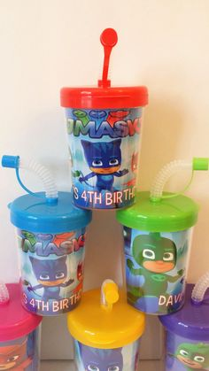 PJ Masks Party Favors DO It Yourself Personalized Birthday Party Favor Cups Lids & Straws Set of 6, Catboy, Owlette, Gekko DIY Party Favor Treat Cups