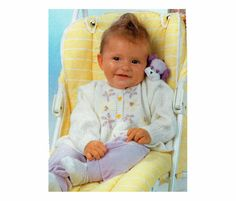 Genuine Vintage Babys 2 Set Duo of Embroidered Floral Cardigan and Chequered Floral Jumper Knitting Pattern PDF
