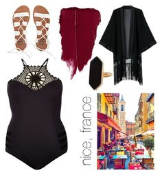 """""""beach 1"""" by nenuca-vila ❤ liked on Polyvore featuring River Island, Billabong, Jaeger, stylishcurves and plussizeswimsuit"""