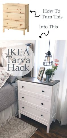 Ikea Tarva Hack - Farmhouse Side Table Dresser - Ikea DIY - The best IKEA hacks all in one place Ikea Tarva Dresser, Dresser As Nightstand, Dresser Furniture, Dresser Ideas, Ikea Bedroom Furniture, Apartment Furniture, Ikea Hack Rast, Dresser Top Decor, Dresser Designs