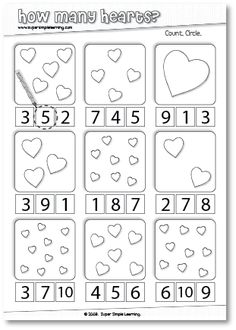How Many Hearts? Counting worksheet for Preschool/Kindergarten. How Many Hearts? Numbers Preschool, Preschool Kindergarten, Preschool Worksheets, Preschool Learning, Preschool Activities, Counting Worksheet, Teaching, Number Worksheets, Valentines Day Activities