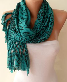 Green/Black Leopard Scarf - Combed Cotton Scarf - Gift