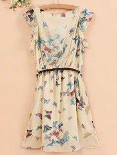 Apricot Sleeveless Butterfly Print Belt Chiffon Dress