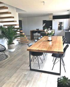 fr - - Emma Home Home Room Design, Dining Room Design, Interior Design Living Room, Interior Decorating, Table Design, Home Living Room, Living Room Decor, Sala Grande, Dining Room Inspiration