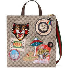 Gucci Courrier Soft Gg Supreme Tote (€1.820) ❤ liked on Polyvore featuring men's fashion, men's bags, gucci mens bag, mens travel bag and men's tote bag