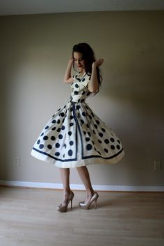 50s Dress // Anne Fogarty Dress // Polka Dot Dress // 1950's Silk Dress // Novelty Dress. $144.00, via Etsy.