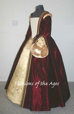 Elizabethan women's gown. As you can see from the picture, the style was large, heavy dresses that flaunted the amount of expensive material you could afford. These were made from fine materials like silk, velvet, taffeta. -adults