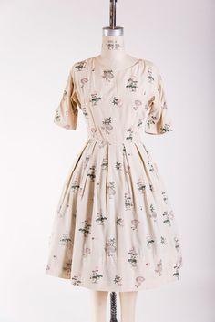 Warm Valley Day Dress 1950s vintage