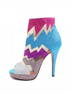 Colored Peep-Toe Ankle Boots