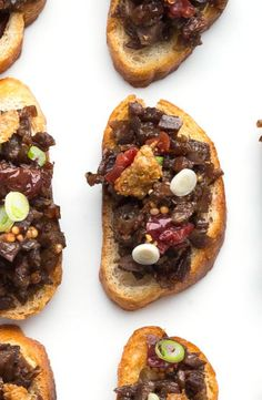 "This crostini recipe is elegant and perfect for dinner parties. Hello, duck confit with crispy duck ""cracklins'""…"