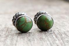 Turquoise Stud Earrings  Kingman Mine  Sterling by RusTiqueAge