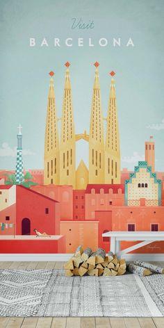 Excellent Barcelone Travel Placard-Wall / Mur / Wallpaper City Barcelone Travel Placard-wall-mural-from. City Illustration, Medical Illustration, Wallpaper City, Wallpaper Wallpapers, Tourism Poster, Excursion, Art Deco Posters, Barcelona Travel, Vintage Travel Posters