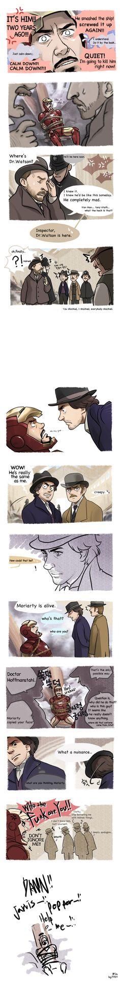 """Iron Man x Sherlock Holmes Crossover, Part 2"" by Hallpen"