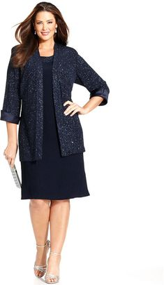 R&M Richards Plus Size Sleeveless Glitter Shift Dress and Jacket