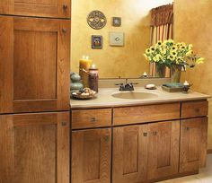 StarMark Cabinetry Milan door style in Cherry finished in Toffee with Chocolate glaze.