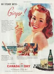 This fine vintage advertisement of a 1946 ad for Canada Dry Ginger Ale is in very good condition and measures approx. This vintage magazine ad depicts a lovely woman holding a glass of ginger ale. Vintage Redhead, Redhead Art, Vintage Advertisements, Vintage Ads, Vintage Posters, Vintage Food, Vintage Clothing, Ginger Ale, Sodas