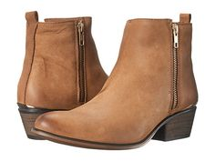 Steve Madden Exclusive - November Brown Leather - Zappos.com Free Shipping BOTH Ways--why did they have to ruin the perfect bootie with that dumb metallic strip above the heel?