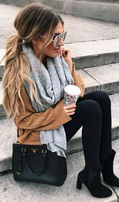 #fall #outfits beige sweater black leggings boots grey scarf