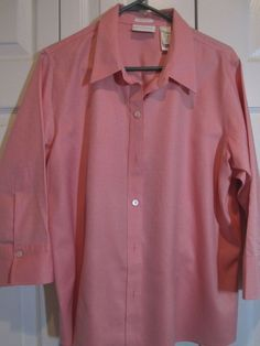 Women's Liz Claiborne Size 16 NWOT pale pink red button front shirt  3/4 sleeves #LizClaiborne #Blouse #Career