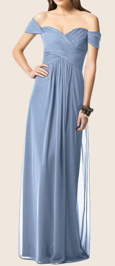 @roressclothes clothing ideas #women fashion Off the Shoulder Chiffon Long Bridesmaid Dress