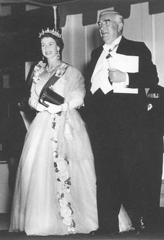 Queen Elizabeth II & Prime Minister of Australia Robert Menzies, 1954, Canberra.  From the National Archives of Aust.  thanks to Dame Annabelle Jane Mary Rankin, photographer, 1954  number M2127,1 TLF resource R11023  www.naa.gov.au/
