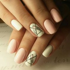 Pink and White Nails with Glitter and Stripes via