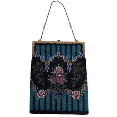 Preowned Antique Beaded Purse ($825) ❤ liked on Polyvore featuring bags, handbags, black, antique hand bags, pre owned purses, purse bag, chain handbags and chain bag