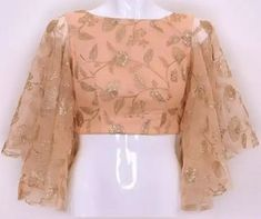 bell sleeves blouse indian Source by StyleDDresswidMe indian Indian Blouse Designs, Saree Jacket Designs, Netted Blouse Designs, Fancy Blouse Designs, Sari Design, Designer Kurtis, Sari Blouse, Sleeves Designs For Dresses, Stylish Blouse Design