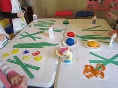 fun sponge painted flowers inspired by Lois Ehlert's books (from Teach Preschool)