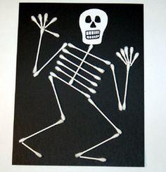 Crafts for Kids: Q-Tip Skeleton Craft