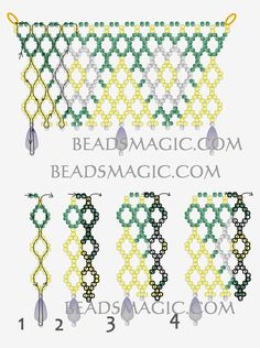 Free pattern for beaded necklace Hibiscus   U need: seed beads 11/0 drops beads