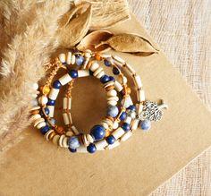 Beach Bohemian Set of 4 Stackable Bracelets, Tree of Life Bracelets, Boho Gypsy Hippie Bracelets, Unisex Bracelets, Wrap Shamballa Bracelets by ByLEXY on Etsy