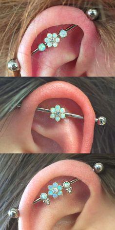Cute Ear Piercing Ideas at MyBodiArt.com - Opal Crystal Flower Industrial Barbell Earring 14G Silver