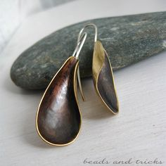 Red brass and sterling silver earrings, handforged | Handmade by Beads and Tricks