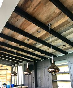 Original Faced Barn Wood Siding for Accent Walls Début by craig_otterness Wood Plank Ceiling, Pallet Ceiling, Porch Ceiling, Wood Ceilings, Wood Beams, Painted Wood Ceiling, Exposed Basement Ceiling, Painted Basement Ceilings, Wood On Ceiling Ideas