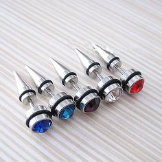Hot New Piercing Rivets Zirzon Crystal Stud Earrings For Women Jewelry Accessories Cone Earing Wholesale Pendientes Brincos Stud Earrings For Men, Punk Earrings, Black Earrings, Fashion Earrings, Fashion Jewelry, Crystal Earrings, Women Jewelry, Cross Earrings, Hoop Earrings
