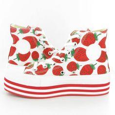 Converse Allstar Platform Hi Wedge Shoes in Strawberry